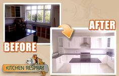 What is a Kitchen Respray? Kitchen respray refers to having the furniture surfaces in the kitchen covered with a thin coat of paint. Kitchen Respray, Restoration, Paint, Coat, Furniture, Home Decor, Picture Walls, Sewing Coat, Decoration Home