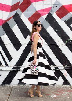 Black White Stripe Midi Skirt