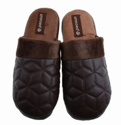 Colorfulworldstore Indoor home Cotton slippers-soft Fight PU leather+Embroidered Lingge floor slippers for man's (CN41/42-27CM, Man-dark brown) Colorfulworldstore. $9.99