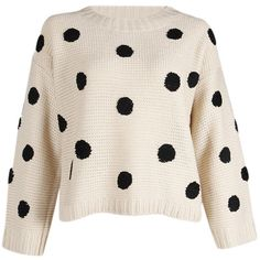 Polka Dot Sweater in Cream ❤ liked on Polyvore featuring tops, sweaters, polka dot sweater, pink top, cream shirt, dot print shirt and pink polka dot top