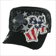 11be79fbcdff8 AMERICAN Flag Hat Star Rhinestone Patriotic Cowgirl Cadet Texas Black Cross  Cap  Western  CadetMilitary