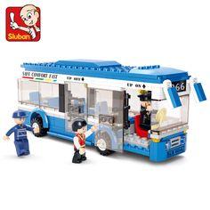 Sluban 0330都市バスビルディングブロックセットモデル235 +個enlighten教育diy建設レンガのおもちゃ