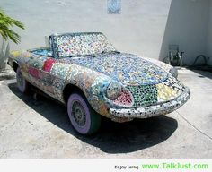 Funny car made with marble pieces