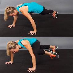 Cardio Burst: Spider   Repetitions: 20  Start on the floor in the top of a pushup position. Bend your left knee and bring it to the outside of your left elbow. Quickly step your left foot back and repeat with the right leg. 'Run' your legs, alternating sides each time, for 20 reps.  .