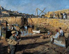 Fitting Out, Mousehole Harbour, 1919 - Stanhope Alexander Forbes (Irish, Newlyn School Your Paintings, Beautiful Paintings, Painting Portraits, Irish Painters, Art Uk, Fishing Villages, Landscape Art, Landscape Paintings, Landscapes