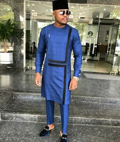 Blue mens clothing/ prom men/ african print clothing/ wedding guest outfit/ african groom/ grooms me African Wear Styles For Men, African Shirts For Men, African Dresses Men, African Attire For Men, Nigerian Men Fashion, African Men Fashion, Africa Fashion, Costume Africain, Dashiki For Men