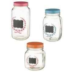 Three Glass Mason Jars with Chalkboard Labels - Tittles & Bits