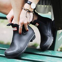 A classic with a new twist - introducing the oh-so-perfect Hunter Chelsea boots! www.trustfundboutique.com