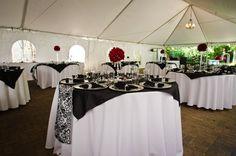 Black white red damask wedding decor