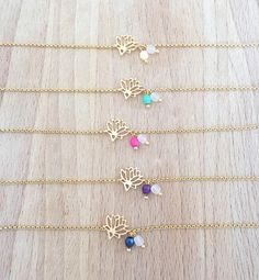 Bracelet Petit Lotus Plaqué Or 24k et Perles : Bracelet par an-ou-shka