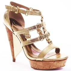 Paris Hilton Women's Jayda - Gold - size 5.5 ($71) ❤ liked on Polyvore featuring shoes, sandals, heels, zapatos, scarpe, platform, open toe, t-strap, trendy and wedges