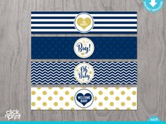 Navy Blue and Gold Glitter Baby Shower Print Yourself Water