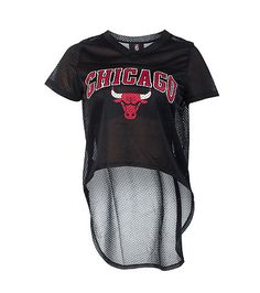 NBA 4 HER Cropped Chicago Bulls hi-low top Mesh fabric Short sleeves CHICAGO on front with bull Lightweight