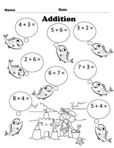 Get your students excited to do addition with this fun fish worksheet! Addition Worksheets, Grade 1, Cl, Homeschool, Students, Fish, Kindergarten, Pisces, Homeschooling