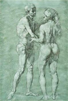 Werner Tübke – Adam und Eva, 1970-72, watercolor, graphite, chalk on cardboard
