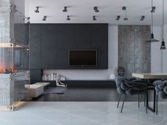 Interior Design, Grey Carpet Modern Fire Place Black Concrete Lamp Armchair Brown And Grey Dinning Table Laminate Wall Slim Tv 72 Inch Brown Wooden Floor And White Porcelain Floor ~ Comfortable Home Interior Design: Decorate Your Ceiling with Lighting