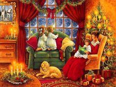 christmas_wonderland_is_magic on Poshinsta Old Time Christmas, Old Fashioned Christmas, Christmas Scenes, Christmas Past, Very Merry Christmas, Victorian Christmas, Vintage Christmas Cards, Retro Christmas, Christmas Pictures