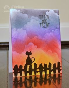"Card by JJ Bolton  (101813)  ""The colors are kind of crazy, but I like the thought of a storm brewing on All Hallow's Eve!""  [Reverse Confetti Spooky Cuties, Spooky Sentiments]"