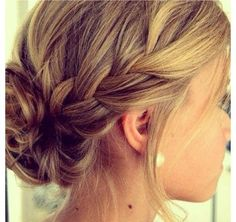 cute french braid in to a messy bun!