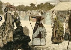 Trailing neck ribbons, here worn in the day time! (Woman on far left) Martial Arts Weapons, Martial Arts Women, Traditional Archery, Traditional Art, Archery Girl, The Sporting Life, Victorian Costume, Fantasy Costumes, Girls Be Like