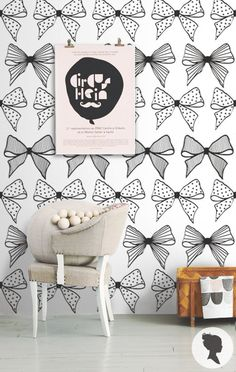 Self Adhesive Bow Pattern Removable Wallpaper Z043
