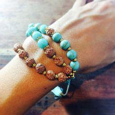 Rudraksha en Turquoise kwast armband - blauwe parel armband met Mens armband, Womens edelsteen armband, armband voor Yoga, meditatie armband