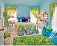 purple lime green turquoise bedroom - Google Search