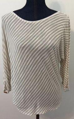 "White House Black Market Womens Tan & White Striped Shirt Top Size Medium ? 23"" #WhiteHouseBlackMarket #Shirt #Casual"