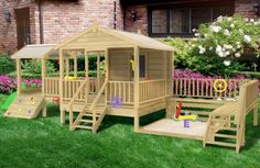 Want somewhere safe for the kids to play outside? We have a large range for easy DIY playhouse kits and designs, like the Kookaburra Loft Cubby House, for your kids backyard playground equipment. Toddler Playground, Kids Backyard Playground, Backyard Playhouse, Backyard For Kids, Backyard Projects, Backyard Fort, Park Playground, Cubby Houses, Play Houses