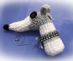 Greyhound Whippet Christmas Ornament White and Gray Crochet by GreyhoundCleyhounds on Etsy