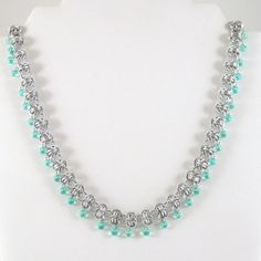 Barrel Weave Chainmail Necklace with Mint Green Beads