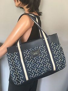 Tommy Hilfiger Bag Designer Fashion Tote Women Large Checker Navy | eBay