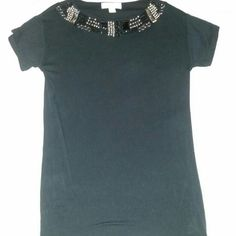Michael kors black studded jeweled collar t shirt Definetly A more Dressy shirt. It's a very clingy fabric. Very flattering, satin feeling almost.  Really decorative collar. Studs,  links,   beads gorgeous! Perfect condition MICHAEL Michael Kors Tops Tees - Short Sleeve
