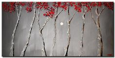 Modern landscape paintings on canvas. Silver Moon is a hand-painted artwork, created by the artist Osnat Tzadok. An online art gallery of modern paintings - artwork id Canvas Painting Landscape, Red Tree, Tree Tops, Paintings For Sale, Online Art Gallery, Giclee Print, Trees, Moon, Hand Painted