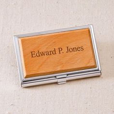 Personalized w/ Name Executive Business Card Case Holder Maple Wood Wooden NEW www.sunsetsalesdirect.com