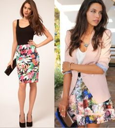 Different ways to do a floral skirt for those long summer days in the office!