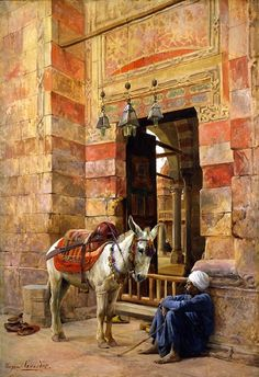 Egypt , Old Cairo Paintings: Eugene Alexis Girardet (French , 1853 - - Outside the Mosque Old Egypt, Cairo Egypt, Jean Leon, Empire Ottoman, Arabian Art, Islamic Paintings, Arabian Nights, Vintage Artwork, North Africa