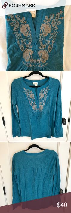 Blue embroidered long sleeve top - Meadow Rue NWOT : a little wrinkly from being in my closet but I can iron if sold. The embroidery has a little shimmer to it which is hard to see in the pictures but it catches your eye and is very pretty on. Tops