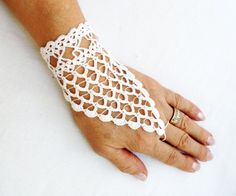 PDF Tutorial  Crochet Pattern,   Fingerless Crochet  Wedding Gloves. $5.25, via Etsy.