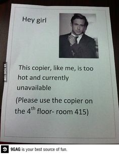 Too bad we only have one copier in the building and I get blamed for it even if I never use it lol
