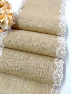 Wedding Table Runner burlap with white embroidered lace , Country Wedding Tablecloth, Rustic Runner, Handmade in the USA,
