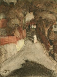 "Albert Edelfelt, ""Gata i Borgå"" 1902 (""Street in Porvoo"")"