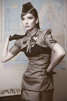 Aviator military vintage shrug army green colour. $76.00, via Etsy.
