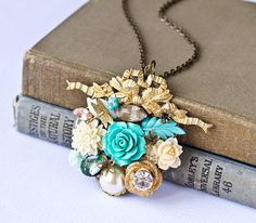 Vintage Collage Necklace $69