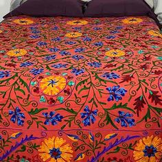 Suzani Embroidered Bedspread Quilt Sienna Elephant Applique, Embroidered Quilts, Kantha Stitch, Elephant Design, Kantha Quilt, Queen Size Bedding, Cotton Quilts, Bedspread