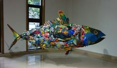 "The huge garbage fish made in Maldives by Yodogawa Technique is going to be exhibited at SPIRAL in Tokyo. Homecoming exhibition of ""Breathing Atolls: Japan-Maldives Contemporary Art E… Fish Sculpture, Sculptures, Fish Wall Art, Trash Art, Assemblage Art, Recycled Art, Art Plastique, Decorative Bowls, Contemporary Art"