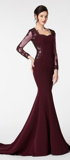 Dark burgundy prom dresses with long sleeves prom dress mermaid prom gown pageant