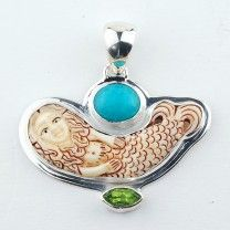 Silver Pendant With Carved Mermaid, Amazonite, Peridot Gemstones