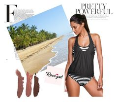 """""""Alluring Spaghetti Strap Color Block Spliced Tankini Set"""" by angelina-335 ❤ liked on Polyvore"""