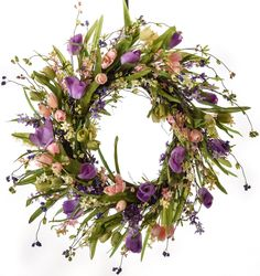 Spring Tulip and Berry Wreath (SW707) - Spring Wreath